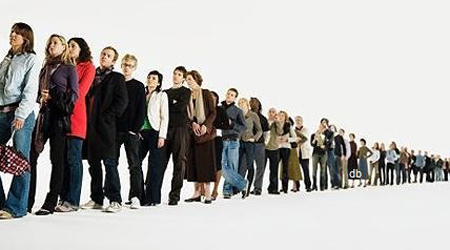 Row of people standing in line (digital enhancement)